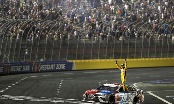 May 27, 2018. Kyle Busch celebrates after winning the Coca Cola 600 at Charlotte Motor Speedway. (HHP/Garry Eller)